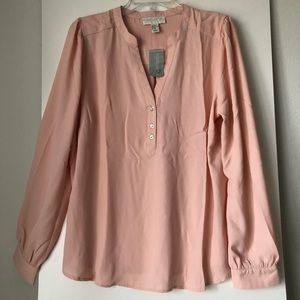 Forever 21 Sheer Long Sleeve Button Top Blouse